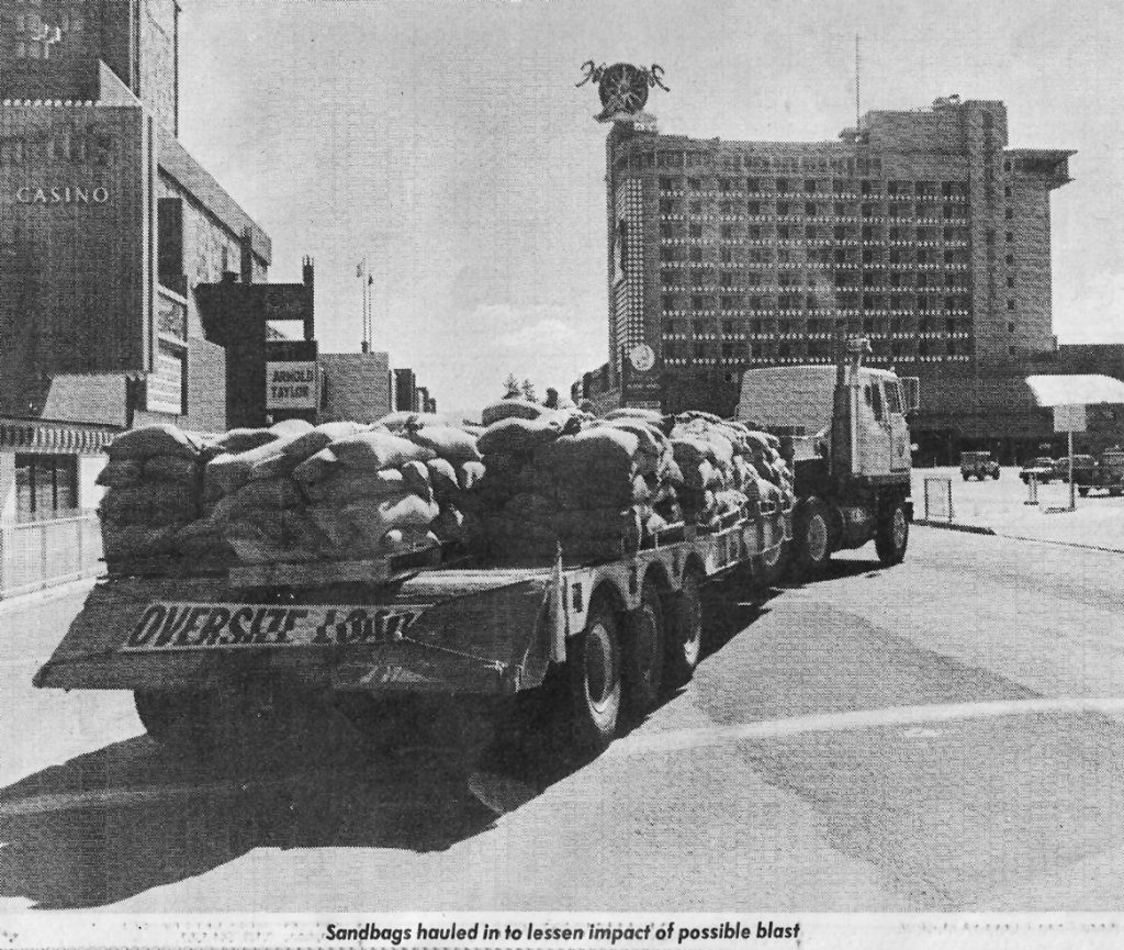 Sandbags were trucked in to lessen the impact of the blast.