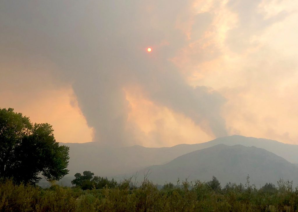 The Slink Fire near Topaz Lake and Coleville is well over 4,000 acres