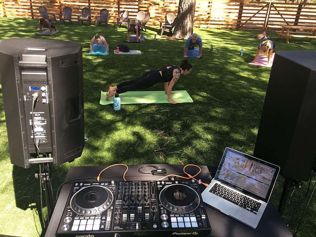 Omni Yoga's yoga beatz class on Saturdays from 10:15-11:30 a.m. The class features live DJ Josebeatz.