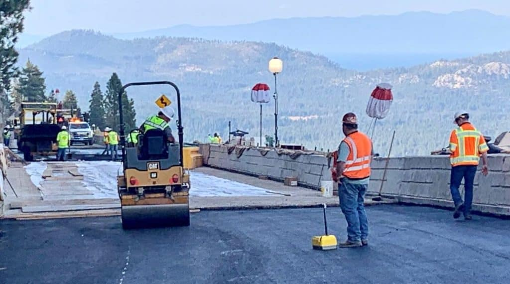 Construction on the Echo Summit bridge replacement project.