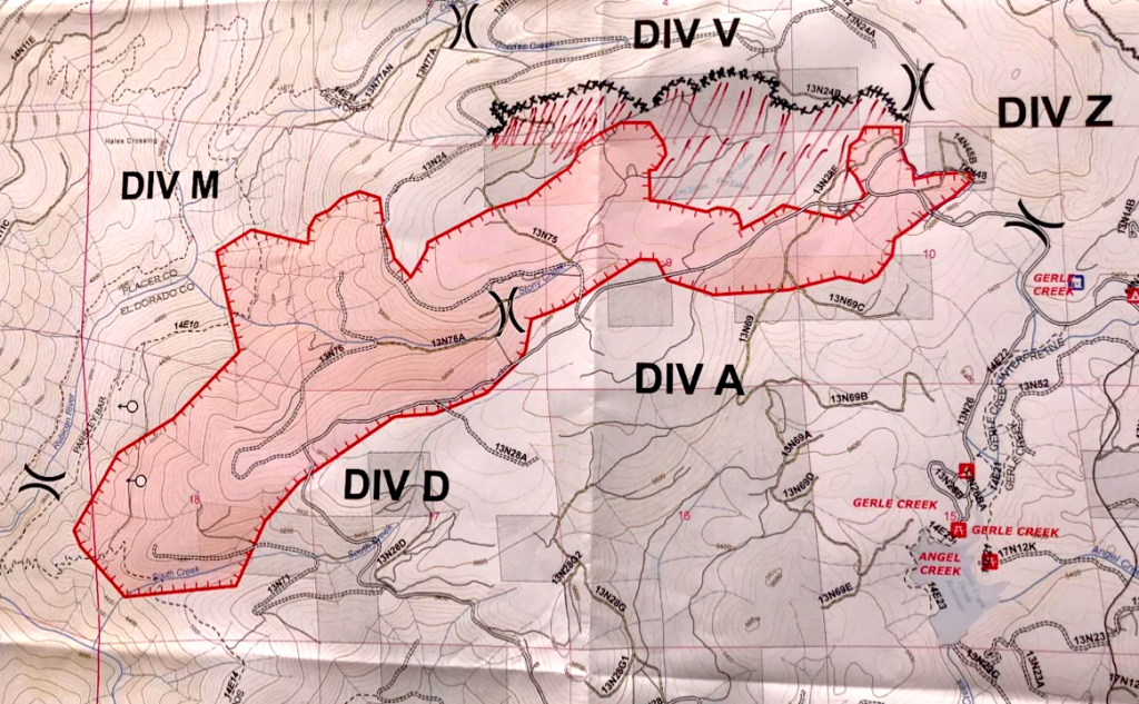 A rough map of the Fork Fire.
