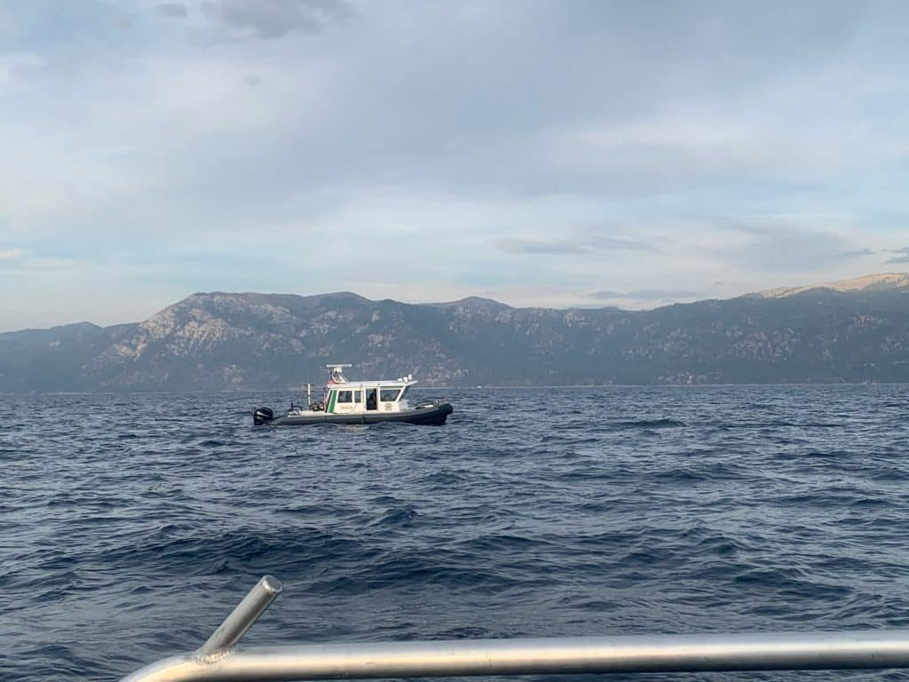 Officials search for a missing man at Lake Tahoe.