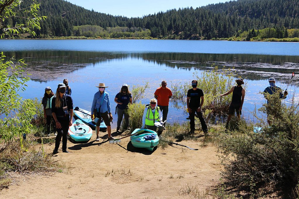 Volunteer citizen scientists recently surveyed Spooner Lake to detect aquatic invasive species.
