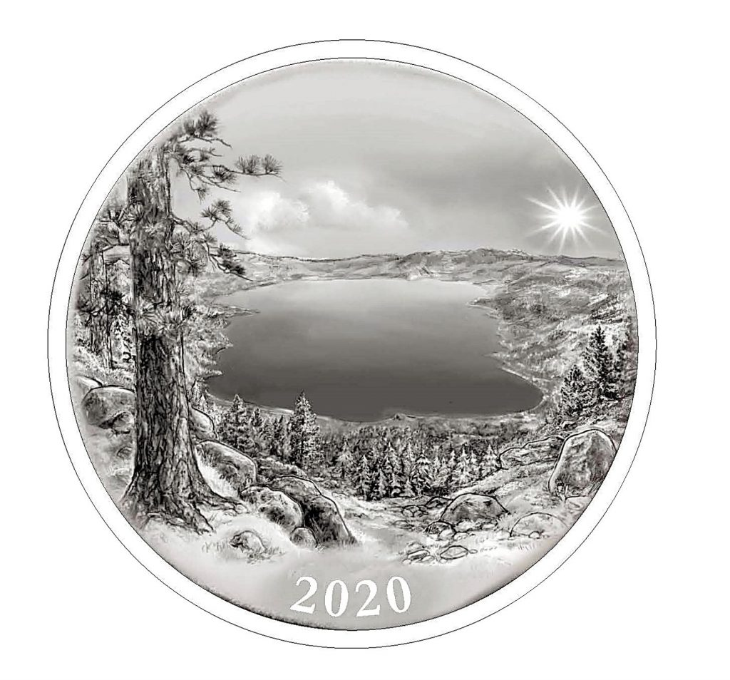 The backside of the Lake Tahoe Commemorative Coin.