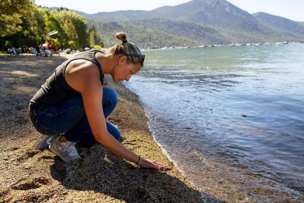 UC Davis staff Research Associate Katie Senft checks the sand for plastic at Incline Beach, Lake Tahoe. While the majority of research on microplastic and the environment has centered on oceans, UC Davis Tahoe Environmental Research Center (TERC) researchers are studying Lake Tahoe's plastic pollution to gain insights on the fate of the lake.