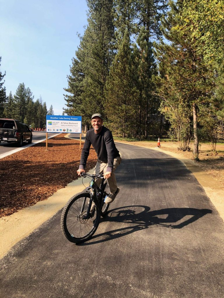 Volunteer Tim Koch tries out the new Al Tahoe Blvd. mobility trail.