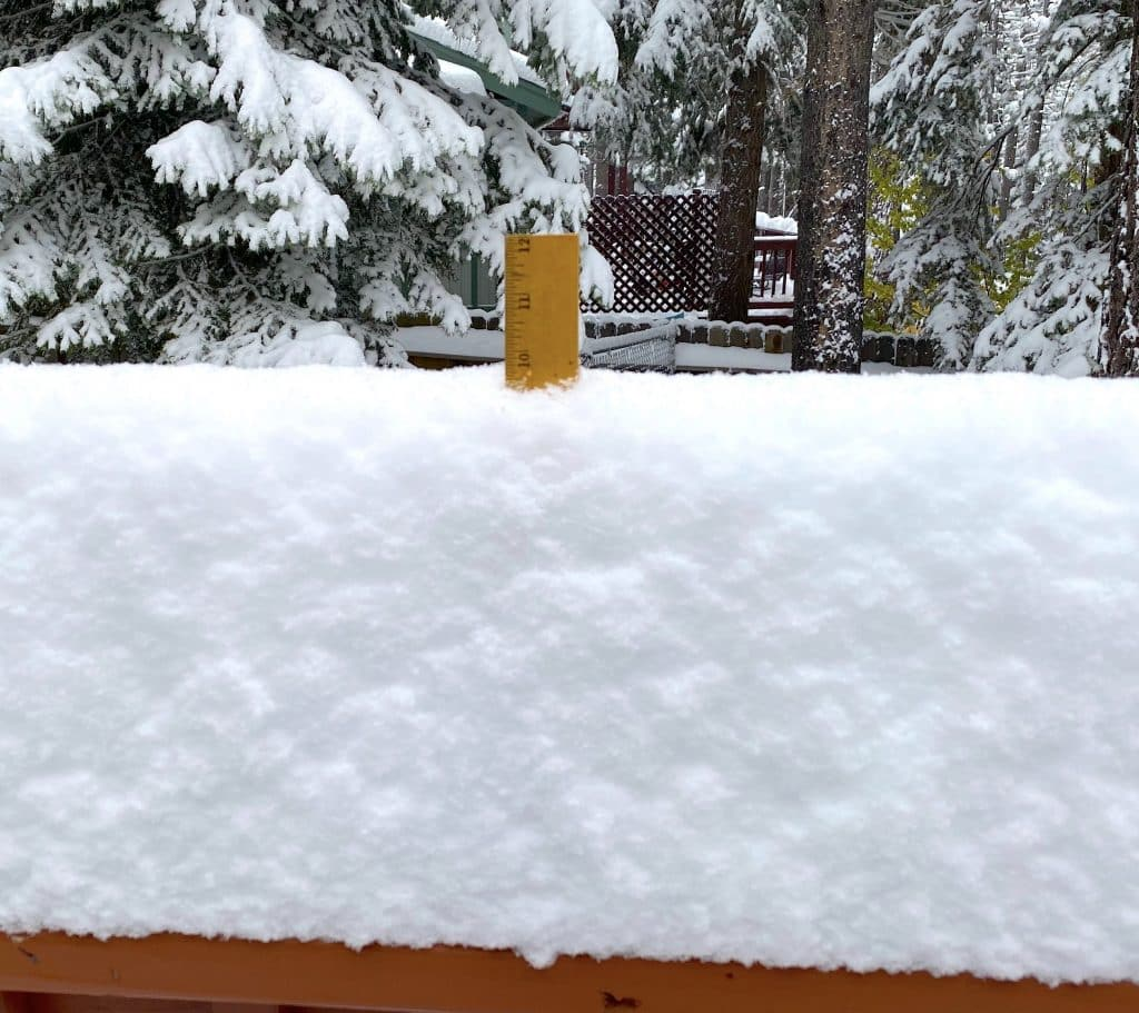 About 10 inches were record in South Lake Tahoe.