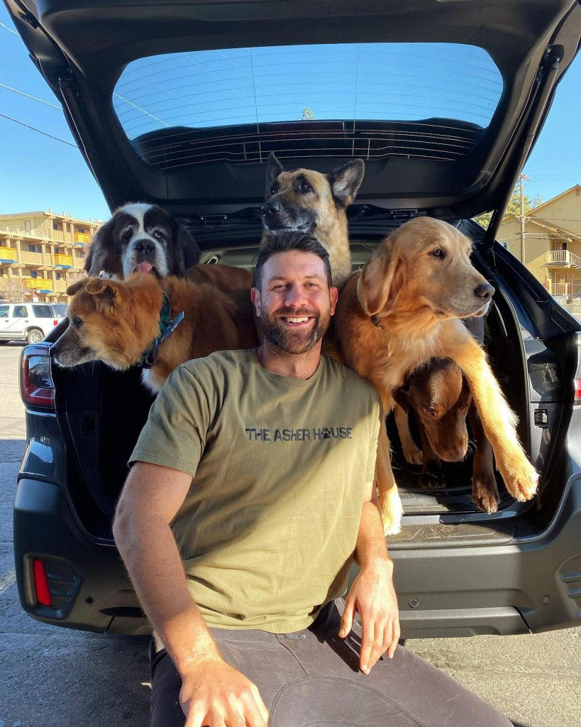 Lee Asher and the dogs camp at different parks around the country.